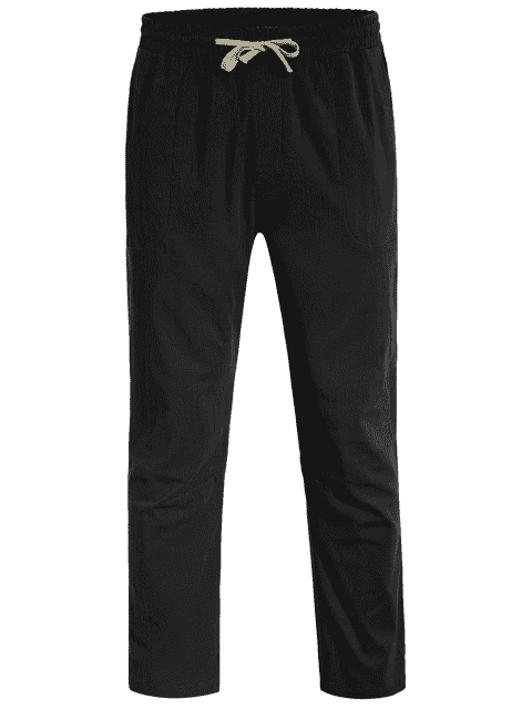 hot Casual Pockets Drawstring Pants - BLACK 4XL Mobile