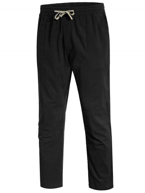 shop Casual Pockets Drawstring Pants - BLACK XL Mobile