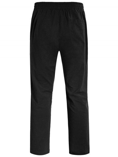 Casual Pockets Drawstring Pants - Noir L Mobile