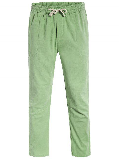 latest Casual Pockets Drawstring Pants - LIGHT GREEN 4XL Mobile