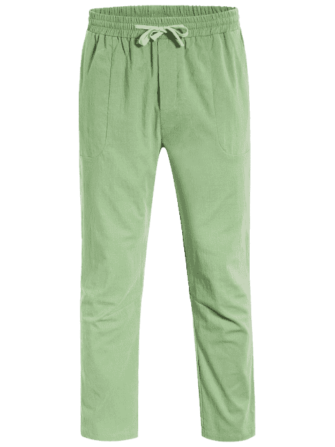 trendy Casual Pockets Drawstring Pants - LIGHT GREEN 3XL Mobile