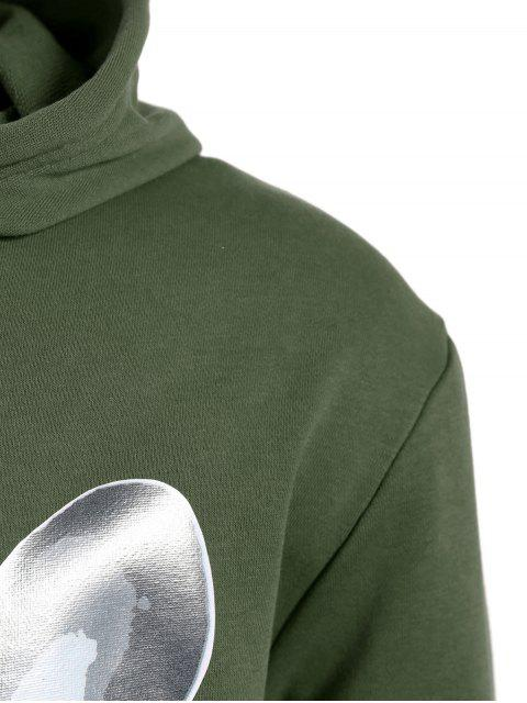 trendy Puppy Graphic Mens Oversized Hoodie - ARMY GREEN L Mobile