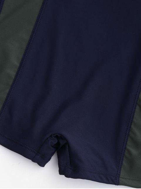 Cut Out Color Block Size Size Swimwear - Bleu Violet 2XL Mobile