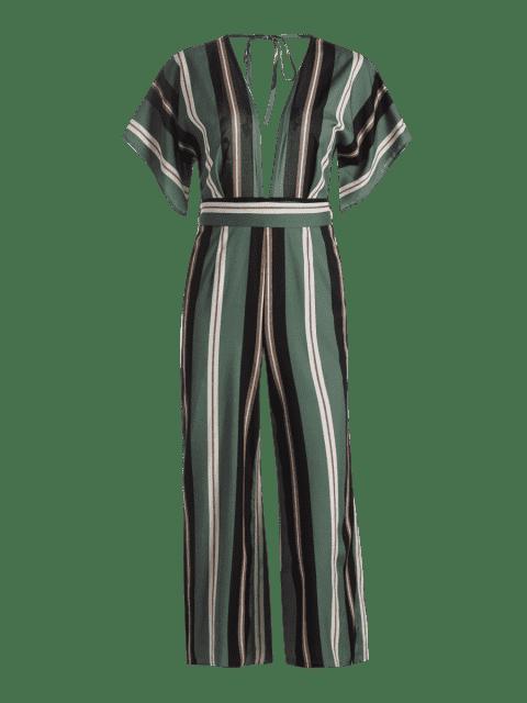 affordable Belted Stripes Wide Leg Jumpsuit - STRIPE S Mobile