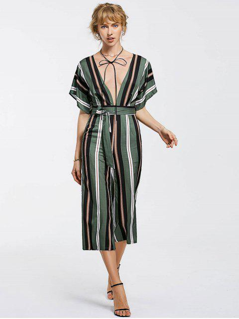 buy Belted Stripes Wide Leg Jumpsuit - STRIPE M Mobile