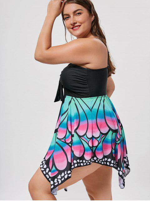 online Plus Size Butterfly Print Skirted Blouson Tankini - BLACK 3XL Mobile