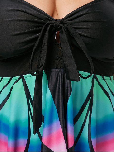 hot Plus Size Butterfly Print Skirted Blouson Tankini - BLACK 5XL Mobile
