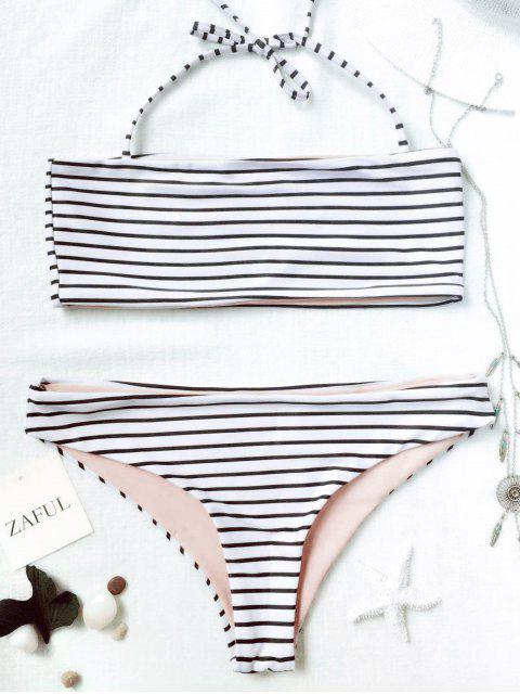 outfits Striped Bandeau Bikini Set - WHITE AND BLACK L Mobile