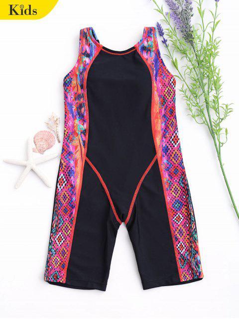 fancy Printed Back Cut Snorkeling Swimwear - BLACK 8T Mobile