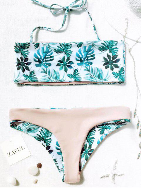 trendy Palm Leaf Tropical Bandeau Bikini Set - WHITE AND GREEN M Mobile