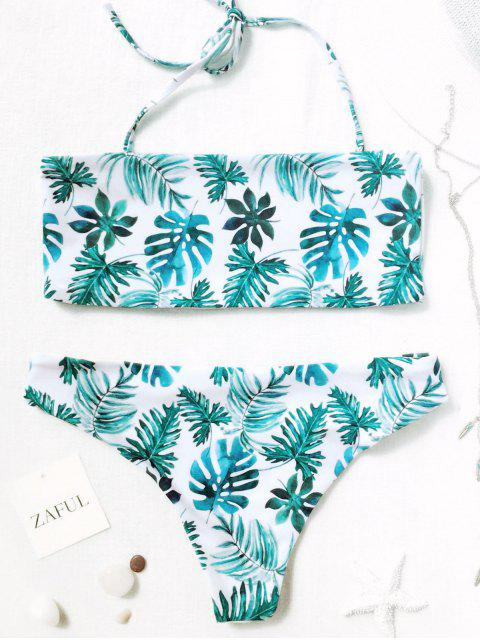 fashion Palm Leaf Tropical Bandeau Bikini Set - WHITE AND GREEN S Mobile