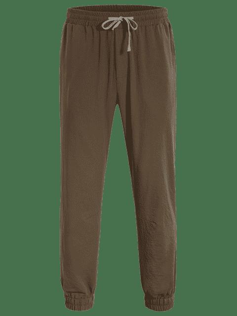 lady Men Drawstring Jogger Pants - COFFEE 4XL Mobile