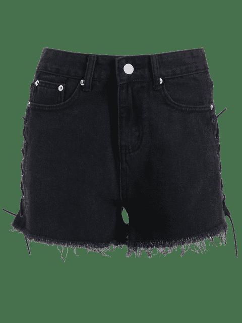 Shorts denim en dentelle en dentelle - Noir S Mobile