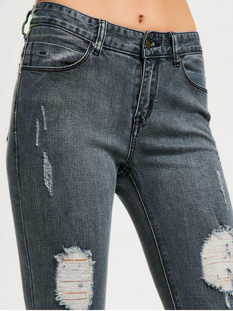 fashion Skinny Destroyed Pencil Jeans - BLUE GRAY 28 Mobile