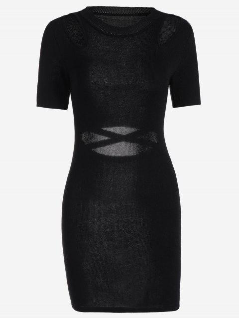 Robe Ajustée Tricotée Cut Out - Noir TAILLE MOYENNE Mobile