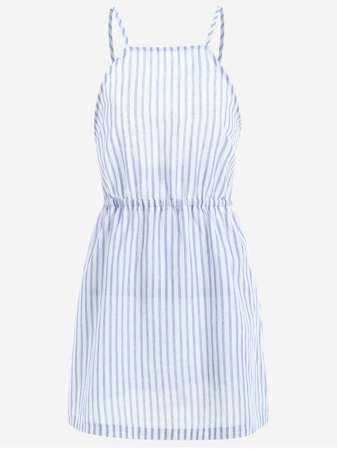 buy Open Back Striped Cami Dress - LIGHT BLUE M Mobile