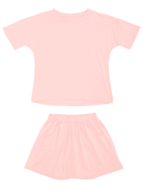 ladies Cute Smile Top with Shorts Loungewear - PINK M Mobile