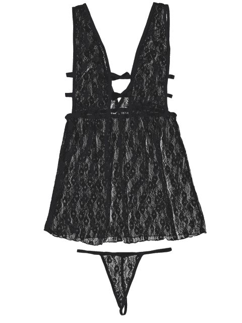 best Sheer Lace Lingerie Dress - BLACK ONE SIZE Mobile