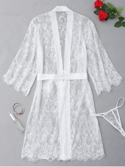 outfit Sheer Scalloped Lace Lingerie Set - WHITE ONE SIZE Mobile