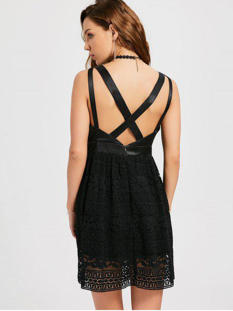 outfit Lace Crisscross Cocktail Dress - BLACK S Mobile
