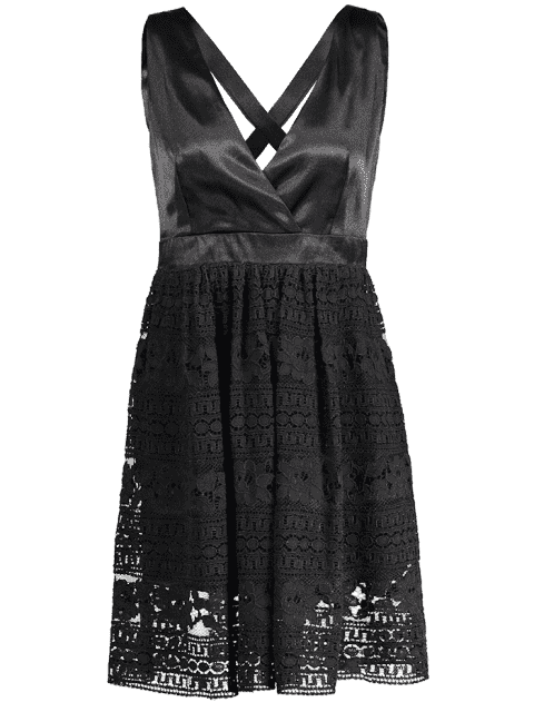 shop Lace Crisscross Cocktail Dress - BLACK XL Mobile