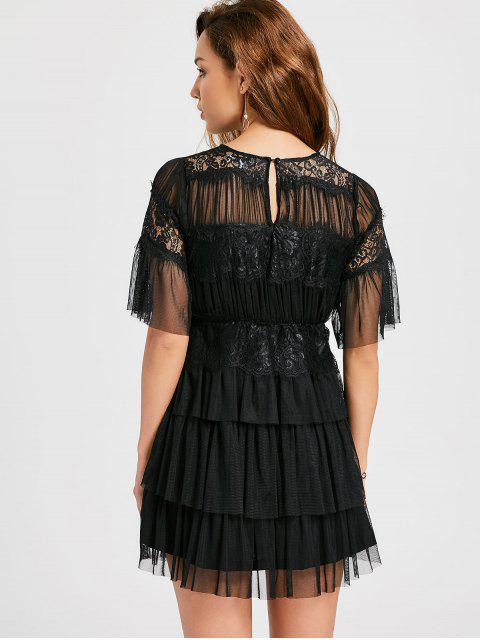 trendy Layered Tulle Cocktail Dress - BLACK L Mobile