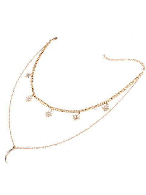 women's Rhinestone Moon Sun Layered Pendant Necklace - GOLDEN  Mobile