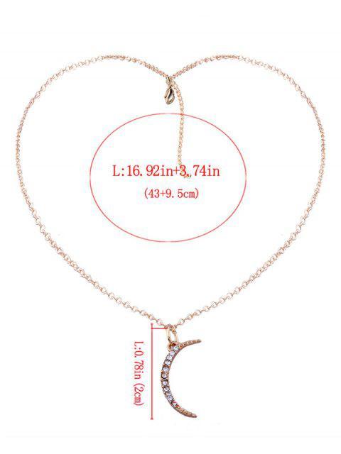 ladies Rhinestone Moon Pendant Collarbone Necklace - GOLDEN  Mobile