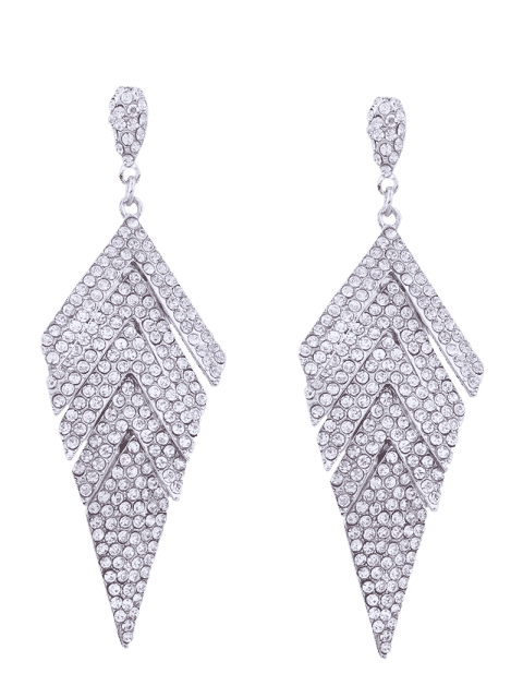 lady Sparkly Rhinestoned Geometric Dangle Earrings - WHITE  Mobile