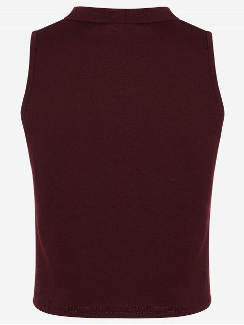 chic Cotton Cropped Choker Tank Top - WINE RED S Mobile