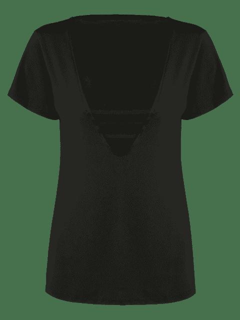 sale Cotton Plunge Choker Top - BLACK L Mobile