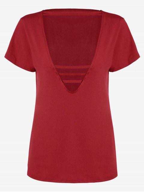 womens Cotton Plunge Choker Top - RED L Mobile
