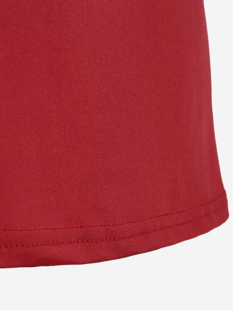 women Cotton Plunge Choker Top - RED M Mobile