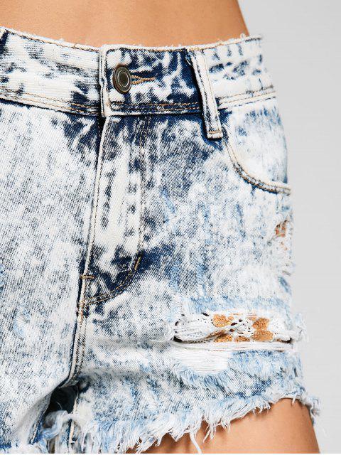 Cutoffs Tie Dyed Denim Shorts - Denim Bleu TAILLE MOYENNE Mobile