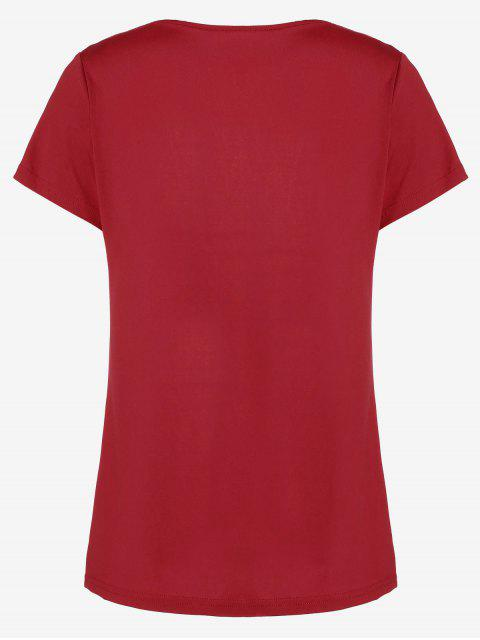 ladies Cotton Plunge Choker Top - RED S Mobile