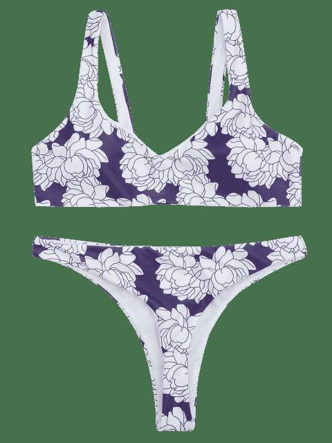 trendy Floral Print Thong Bikini Set - WHITE + PURPLE S Mobile