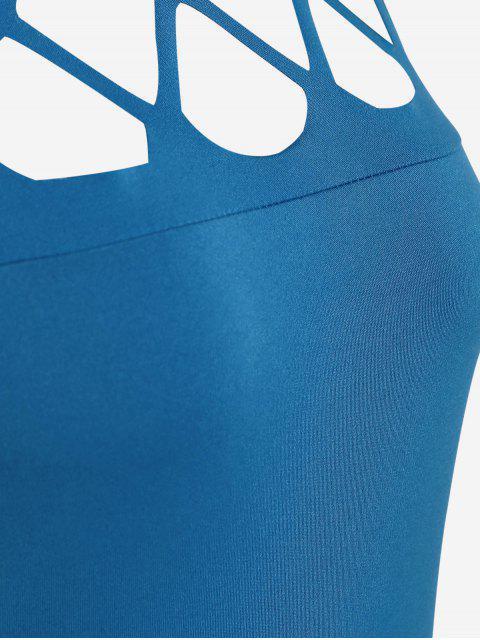 fashion High Neck Cut Out Jumpsuit - BLUE L Mobile