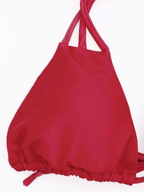 affordable Padded Halter String Bikini Set - RED S Mobile