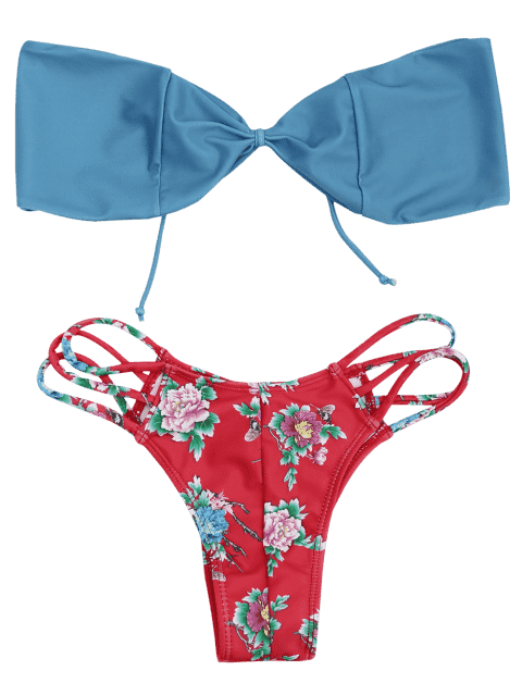 buy Strappy Floral Bandeau Bikini Set - RED L Mobile