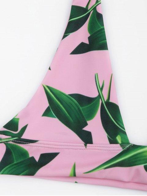ladies Leaf Print Bikini Set - PINK M Mobile