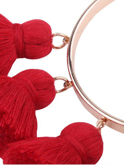 unique Alloy Charm Tassel Cuff Bangle Bracelet - RED  Mobile