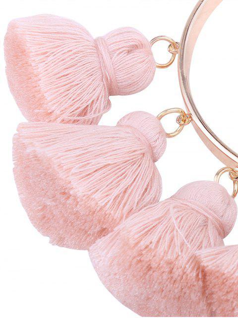 sale Alloy Charm Tassel Cuff Bangle Bracelet - PINK  Mobile