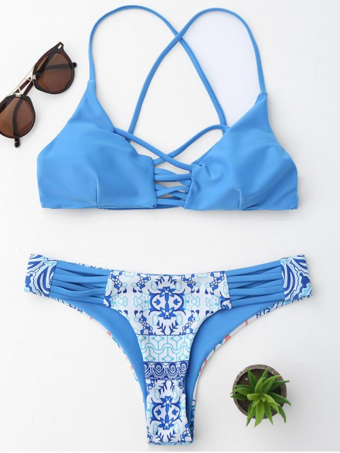hot Printed Strappy Bikini Set - BLUE L Mobile