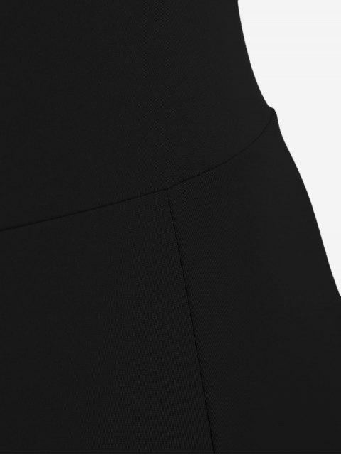 fashion High Neck Cut Out Jumpsuit - BLACK XL Mobile