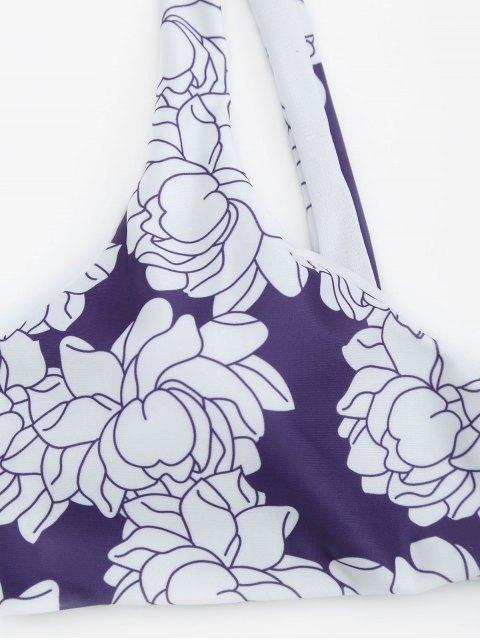 chic Floral Print Thong Bikini Set - WHITE + PURPLE M Mobile