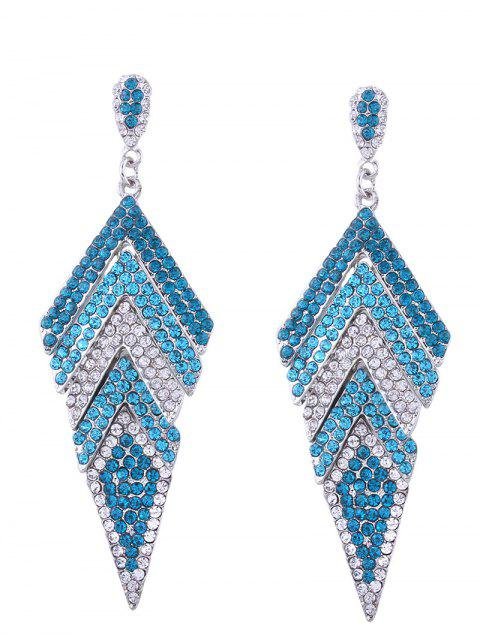 fancy Sparkly Rhinestoned Geometric Dangle Earrings - BLUE  Mobile