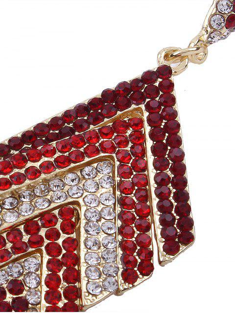 Boucles d'oreilles géométriques strass brillantes Rhinestoned - Rouge  Mobile