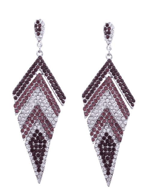 affordable Sparkly Rhinestoned Geometric Dangle Earrings - PURPLE  Mobile
