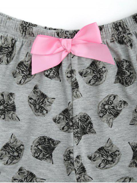 women's Cute Pussy Cat Top with Shorts Loungewear - GRAY L Mobile