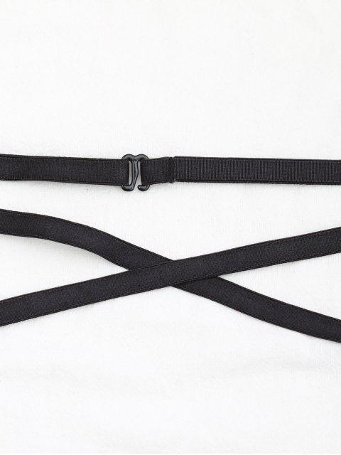 best Lace Bandage Lingeries Panties - BLACK L Mobile